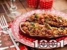 Рецепта Пълнени постни патладжани цървули с ориз, орехи и стафиди